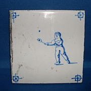 Delft tile deep blue with a tennis sport theme