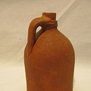 Antique Folk Art Redware Jug Coin Bank