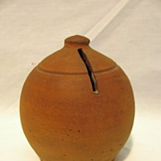 Antique Redware Beehive Style Coin Bank