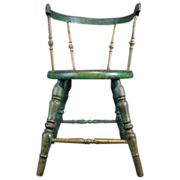 Antique Windsor Child's Cricket Chair Green Paint