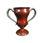 Antique Enameled Trophy Presentation Sterling Silver Cup 1903