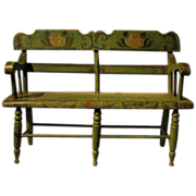 Antique Child's Settee Wonderful Stencil Original Green Paint