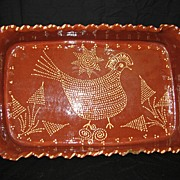 Antique Large Redware Serving Dish