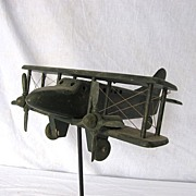 Vintage Wooden Folk Art Airplane Whirligig