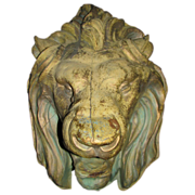 Antique Architectural Copper Lion Down Spout Cover