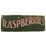 Vintage Wooden Painted Raspberries Trade Sign