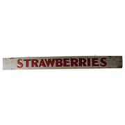 Vintage Wooden Strawberries Farm Stand Painted Sign