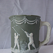Antique Ceramic Jasperware Golf Theme Pitcher