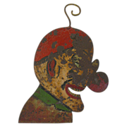 Vintage Carnival Circus Painted Metal Clown Head