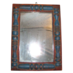 Antique Applied and Paint Decorated Silver Back Mirror
