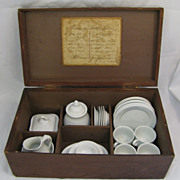 Antique Iron Stone Child's Tea Set in Wooden Box Dated 1871