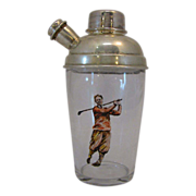 Vintage Painted EPN Painted Golfer Cocktail Shaker