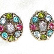 Vintage Hollycraft Pastel Rhinestones Clip Earrings 1950s