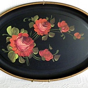 Vintage Hand Painted Oval Tole Tray Red Roses Original Label Hanger