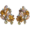 Juliana-Delizza & Elster-Big Clip Earrings-AB Nugget Dangles-Exciting!