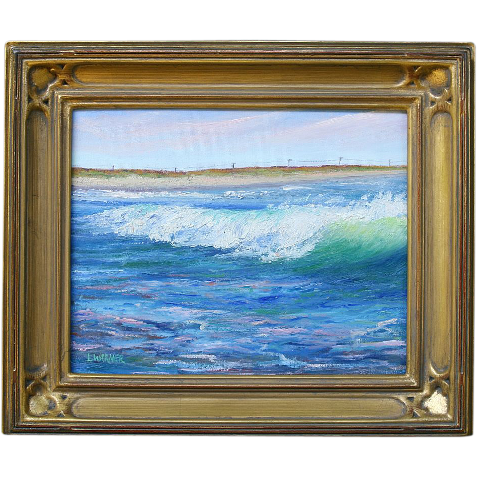WAVE BREAK-Surfers View of the Beach-8 X 10  Oil Painting by L. Warner