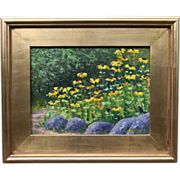 ROCK GARDEN-9 X 12 Original Oil Painting by L. Warner-Black-Eyed Susan's