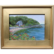 COTTAGE BY THE SHORE-New England Summer-9 X 12 Oil Painting by L. Warner