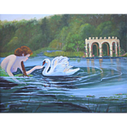 MERMAID COVE-Sunlit Swan-Canvas Giclee-Limited Edition of 200-16 X 20