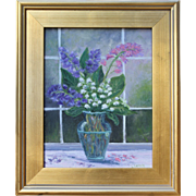 MISTY DAY BOUQUET-Lilly of the Valley-11 X 14 Oil Painting by L. Warner
