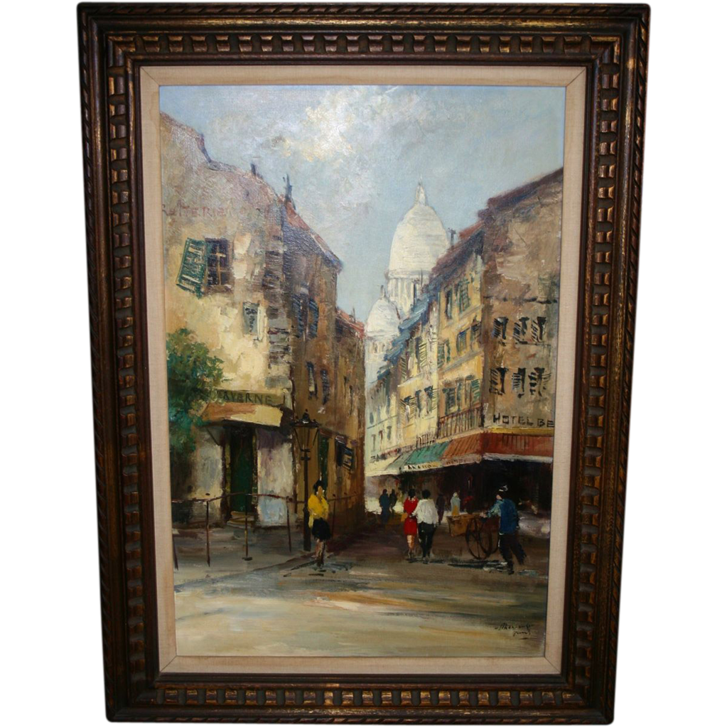 PARIS Oil Painting-Sacre-Coeur-Montmartre-Mid-Century Street Painting