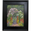 PEACEFUL PLACE-11 x 14 Original Oil Painting-Floral Garden Gate-L. Warner Artist