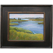 SUMMER BREEZE-Egret In Tidal Marsh-11 X 14 Oil Painting by L. Warner