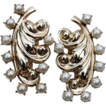 BARCLAY SET-Fur Clips-Large Goldtone Swirls & Faux Pearls-Impressive