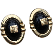 GIVENCHY Pierced Earrings-Black & Goldtone Domes-Iconic Logo-Vintage Chic!