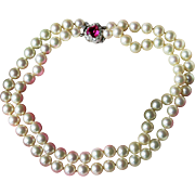 MAZER-JOSEPH-Faux Pearl Necklace-9mm-Hand-knotted-Pink Crystal Clasp