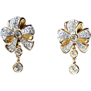 SWAROVSKI EARRINGS-Swan Logo Clips-Bow Motif & Dangles-Crystal Ribbons