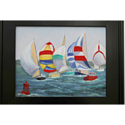 SUMMER REGATTA-Original Oil Painting by L. Warner-11 X 14 Canvas Panel