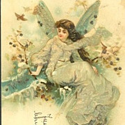 Antique Romanian Fairy 'Winter' Postcard c1900.