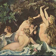 German Artist 'Naked Nymphs with Swan' Postcard.