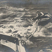 Old Russian 'Fishermen and Mermaids' Postcard.