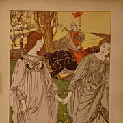 REDUCED Original Antique Art Nouveau L'Estampe Moderne French Lithograph 'Le Passant' 1898