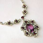 Stunning 50's Bling! Flower Lavalier Necklace..Purple and Clear Rhinestones. To die for.