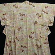 Hand Painted Art Deco Peach/Cream Silk Kimono with Butterflies