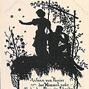 German Artist Postcard Lovers in Silhouette M & B