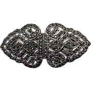 Art Deco Marcasite Brooch/Pin Convertible Dress/Fur Clips.