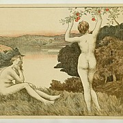 REDUCED Original Antique Art Nouveau French Lithograph ~Automne Nue~L'Estampe Moderne1897