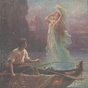 Austrian Artist 'Fisherman and Mermaid' Postcard.