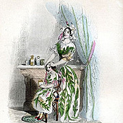 Grandville Victorian Engraving 'Jasmin' 1847 from Les Fleurs Animees.
