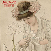 Antique French Gala Peter Advertising Postcard 'Le Lys' c1900.
