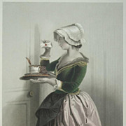 Lovely German Steel Engraving 'Curiosity' c 1860.