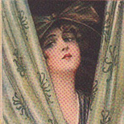Art Deco Signed Italian 'Beautiful Woman Behind a Curtain' Postcard.