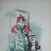 Grandville Victorian Engraving 'Cactus' from Les Fleurs Animees..1852.
