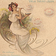 Pair of French Art Nouveau 'Vals Mineral Water' Advertising Postcards 1902