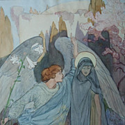 Stunning Signed German Original Water Color and Ink  'The Annunciation'  1918.TO DIE FOR