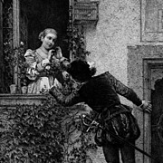 Antique Victorian Engraving 'Young Love' 1883